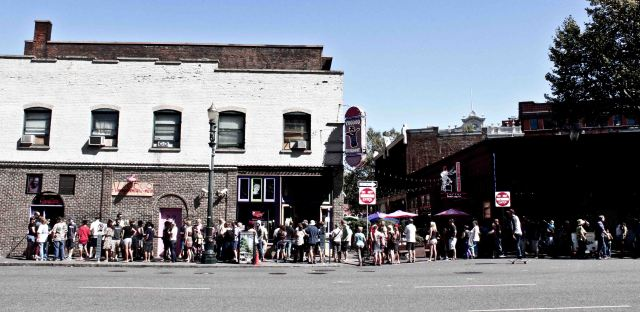 The line at Voodoo donuts for a penis shaped something or rather or bacon covered awesomeness.